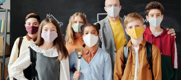 Masked school kids